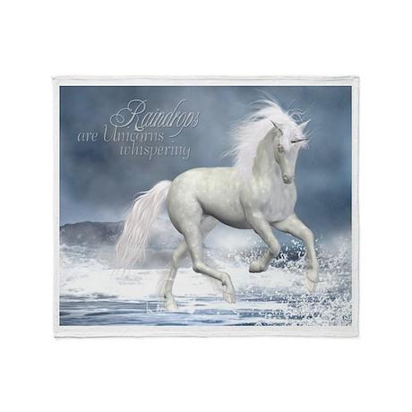 White Unicorn 1 Throw Blanket