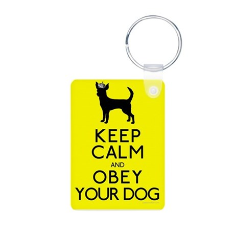 """Keep Calm and Obey Your Dog"" Aluminum Photo Keych"