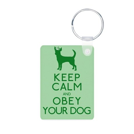 """""""Keep Calm and Obey Your Dog"""" Aluminum Photo Keych"""