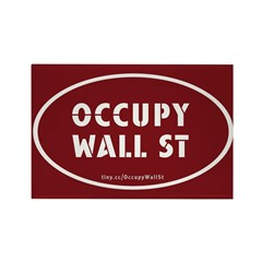 Occupy Wall St Oval Stickers Rectangle Magnet
