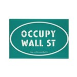 Occupy Wall St Oval Teal Rectangle Magnet (10 pack