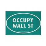 Occupy Wall St Oval Teal Rectangle Magnet