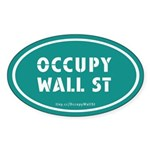 Occupy Wall St Oval Teal Sticker (Oval 10 pk)