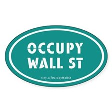 Occupy Wall St Oval Teal Decal
