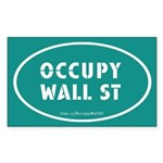 Occupy Wall St Oval Teal Sticker (Rectangle)