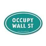 Occupy Wall St Oval Teal 38.5 x 24.5 Oval Wall Pee