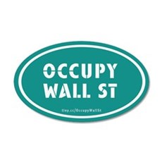 Occupy Wall St Oval Teal 22x14 Oval Wall Peel