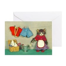 Cleaning Cat Blank Card