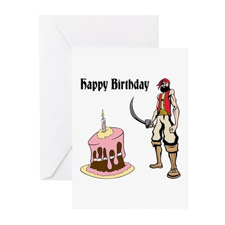 Birthday Cake and Pirate Greeting Cards (Pk of 20)