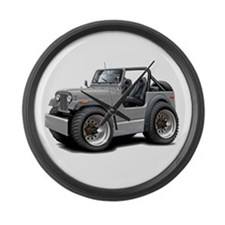 Jeep Silver Large Wall Clock