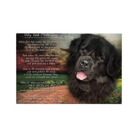 """Why God Made Dogs"" Newfoundland Rectangle Magnet"