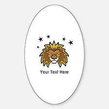 Lion. Custom Text Sticker (Oval)