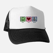 Peace Love Robots Trucker Hat