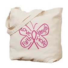 Breast Cancer Butterfly Hope Tote Bag