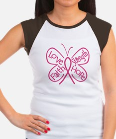 Breast Cancer Butterfly Hope Women's Cap Sleeve T-