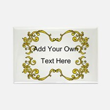 Gold Color Scrolls, Custom Text Rectangle Magnet