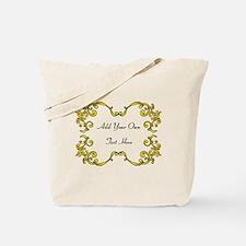 Gold Color Scrolls, Custom Text Tote Bag