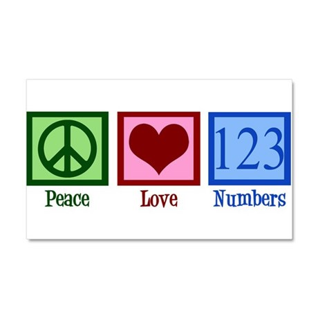 Peace Love Numbers Car Magnet 20 x 12