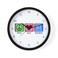 Peace Love Numbers Wall Clock