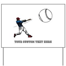 Baseball Player with Custom Text Yard Sign