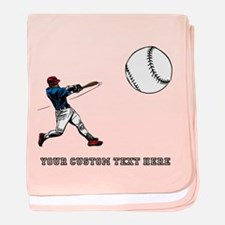 Baseball Player with Custom Text baby blanket