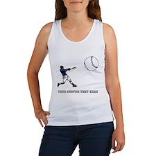 Baseball Player with Custom Text Women's Tank Top