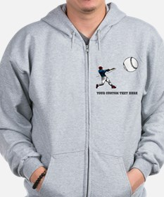 Baseball Player with Custom Text Zip Hoodie
