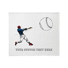 Baseball Player with Custom Text Throw Blanket