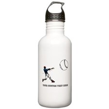 Baseball Player with Custom Text Water Bottle