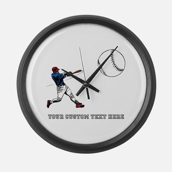 Baseball Player with Custom Text Large Wall Clock