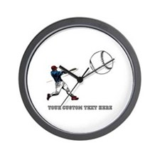 Baseball Player with Custom Text Wall Clock
