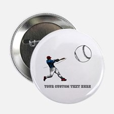 """Baseball Player with Custom Text 2.25"""" Button (100"""