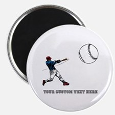 "Baseball Player with Custom Text 2.25"" Magnet (10"