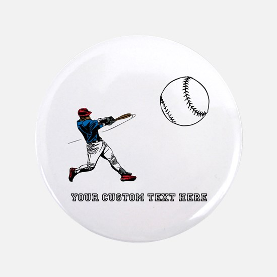 """Baseball Player with Custom Text 3.5"""" Button"""