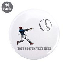 """Baseball Player with Custom Text 3.5"""" Button (10 p"""