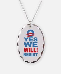 Resist Obama Necklace Oval Charm