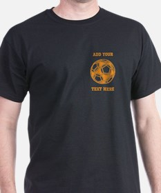 Soccer Ball. Orange with Text T-Shirt