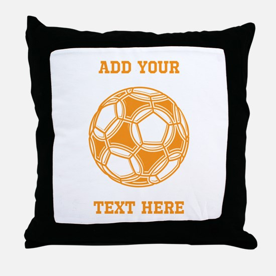 Soccer Ball. Orange with Text Throw Pillow