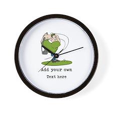 Golf Cartoon, Custom Text Wall Clock