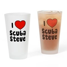 I Love Scuba Steve Drinking Glass