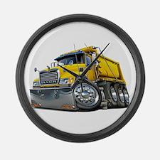 Mack Dump Truck Yellow Large Wall Clock