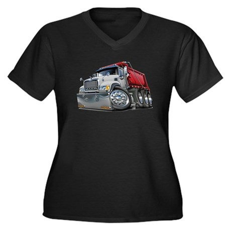 Mack Dump Truck White-Red Women's Plus Size V-Neck