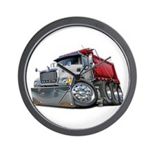 Mack Dump Truck White-Red Wall Clock
