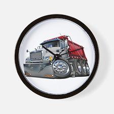 Mack Dump Truck White-Red Wall Clock