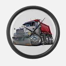 Mack Dump Truck White-Red Large Wall Clock
