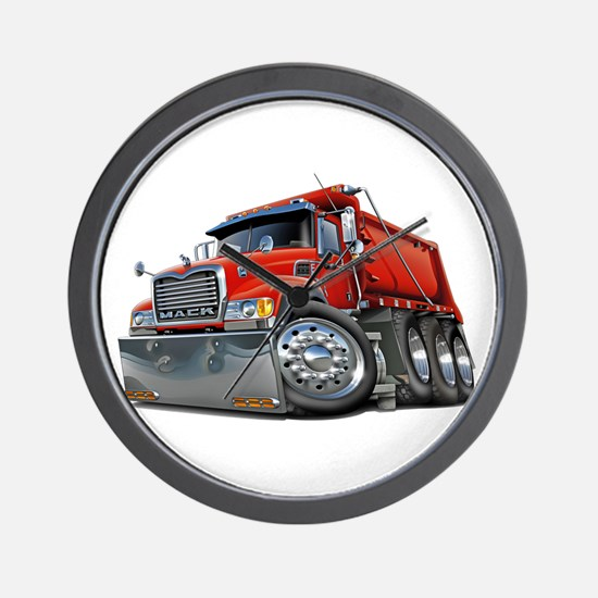 Mack Dump Truck Red Wall Clock