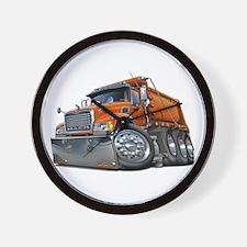 Mack Dump Truck Orange Wall Clock