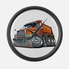 Mack Dump Truck Orange Large Wall Clock