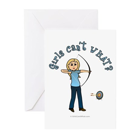 Blonde Blue Archery Greeting Cards (Pk of 10)