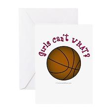 Brown/Pink Basketball Greeting Card